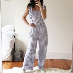 UO Emerson Ruffle Gingham Jumpsuit | XS